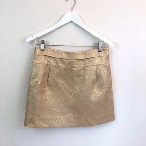 J Crew Gold Mini Skirt Size 4